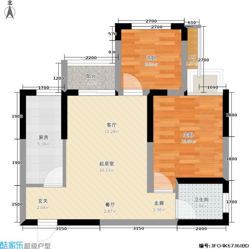 银茂江尚怡景银茂江尚怡景一期1号楼标准层A3户型1室2厅1卫1厨 59.42㎡户型1室2厅1卫