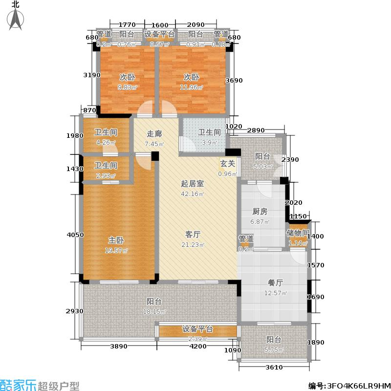 保利山庄127.75㎡E户型 套内面积约120㎡ 实得面积约151㎡户型3室2厅2卫