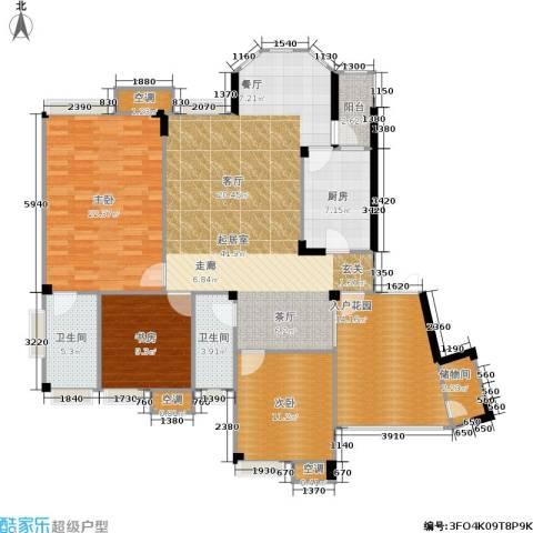 长安丽都3室0厅2卫1厨122.77㎡户型图
