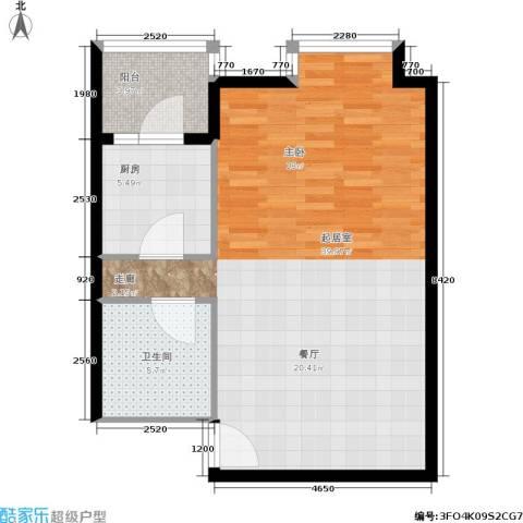北京上舍1卫1厨61.00㎡户型图