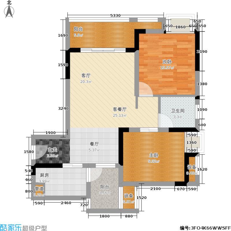 融汇半岛艾德公馆65.00㎡融汇半岛艾德公馆户型图8号楼C户型两室两厅一卫约65平米(2/5张)户型10室