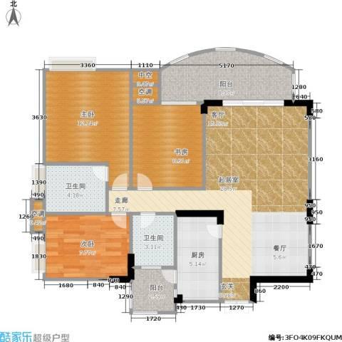 长安丽都3室0厅2卫1厨93.00㎡户型图