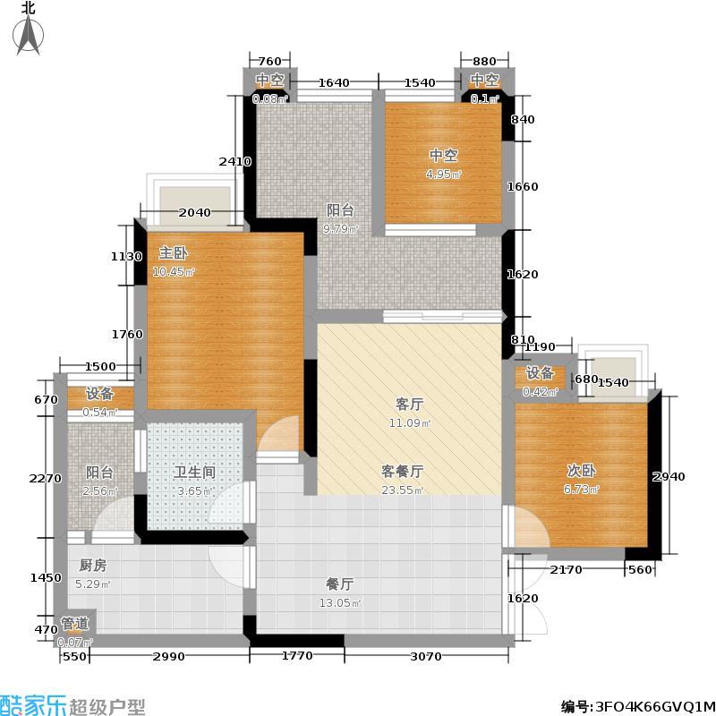 国奥村81.83㎡二期678号楼D4户型套内约64.86㎡户型2室2厅1卫
