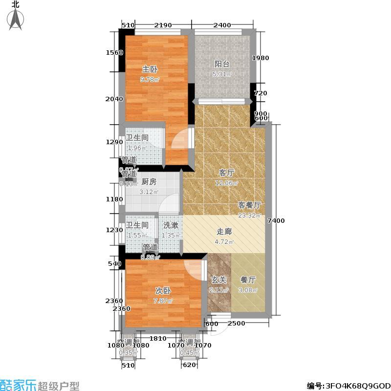 金阳易诚时代79.40㎡G户型,两室一厅,套内面积约62.46平米户型2室1厅2卫
