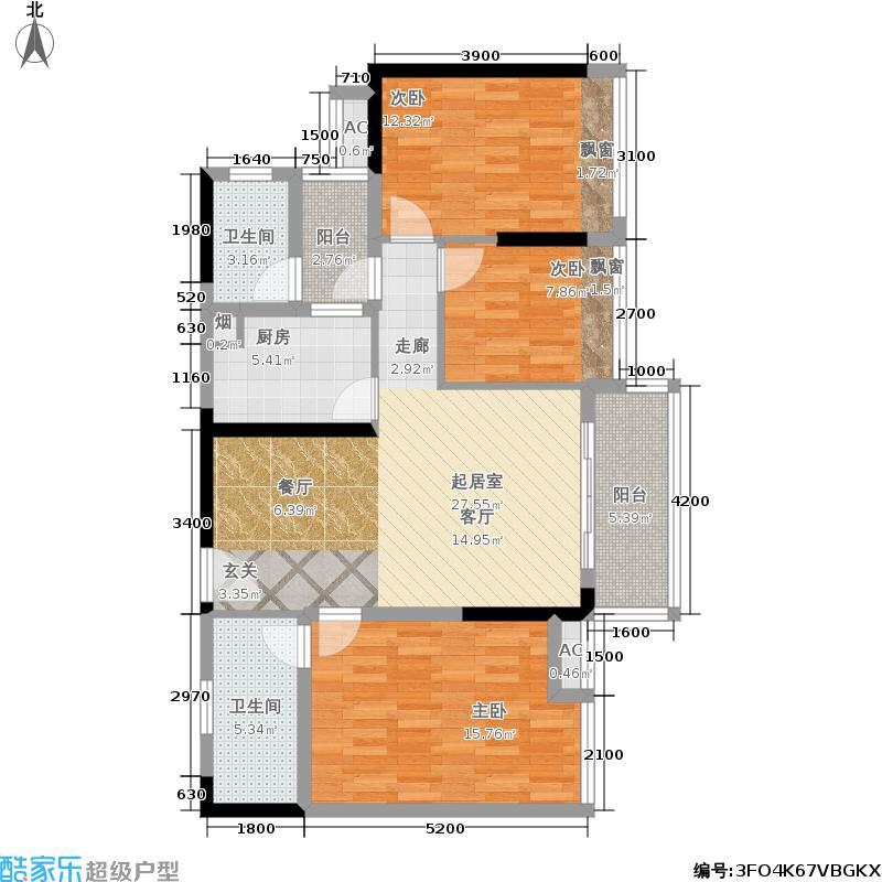 汉京确悦汉京确悦户型图B座D_F型3房2厅2卫89平方米(3/6张)户型10室