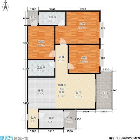 白龙嘉和丽景3室1厅2卫1厨167.00㎡户型图