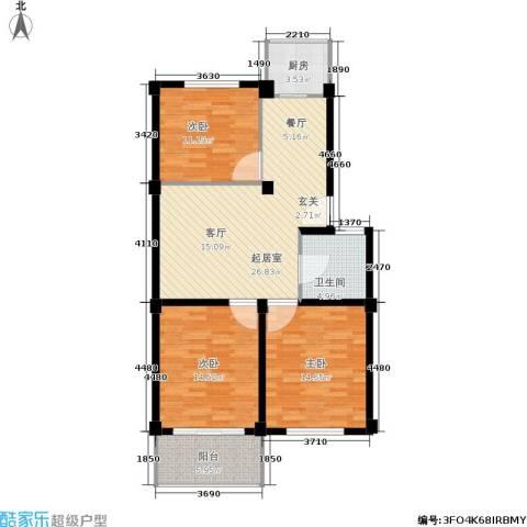 邻里花园3室0厅1卫1厨92.00㎡户型图