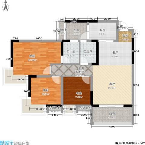 俊峰龙凤云洲3室1厅2卫1厨124.00㎡户型图