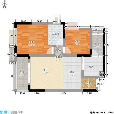 俊峰龙凤云洲2室1厅1卫1厨66.00㎡户型图