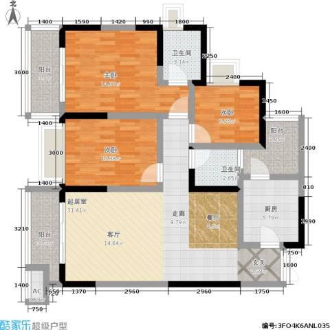 融汇温泉城锦华里3室0厅2卫1厨97.00㎡户型图