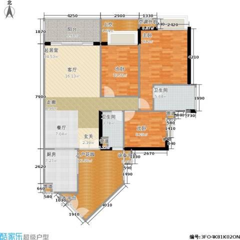 富力海洋广场3室0厅2卫1厨113.98㎡户型图