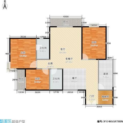 新兴骏景园二期天樾3室1厅2卫1厨110.00㎡户型图