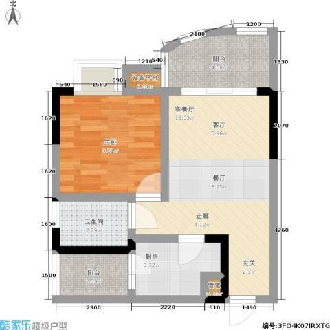 新城丽园1室1厅1卫1厨61.00㎡户型图