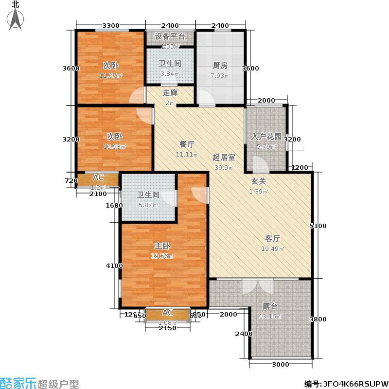 米兰东湖湾128.76㎡D2 3室2厅2卫户型
