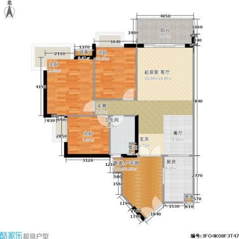 富力海洋广场3室0厅1卫1厨129.00㎡户型图