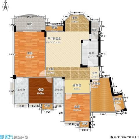 长安丽都3室0厅2卫1厨123.80㎡户型图