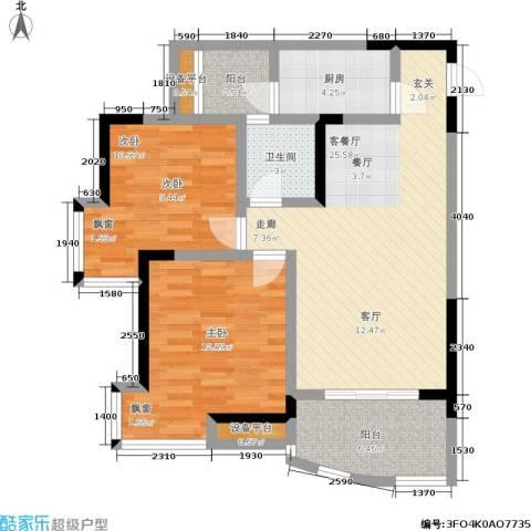 新城丽园2室1厅1卫1厨101.00㎡户型图