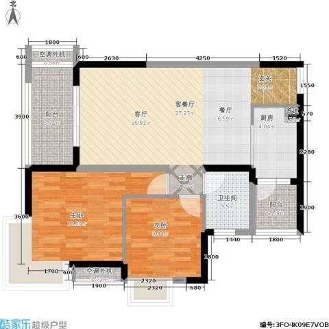 俊峰龙凤云洲2室1厅1卫1厨95.00㎡户型图