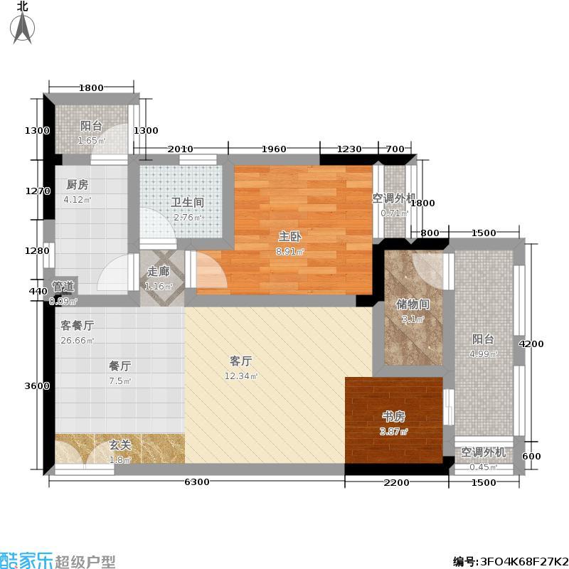 来新居水岸国际75.03㎡2、3号楼B户型套内60.00平米户型1室2厅1卫