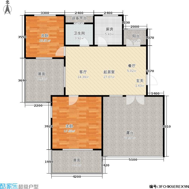 米兰东湖湾83.94㎡D3 2室2厅1卫户型