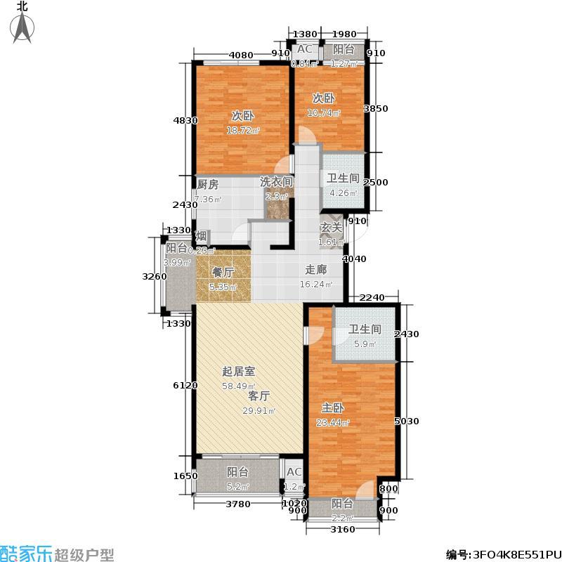 熙府桃园155.21㎡3室-2厅-2卫-1厨户型
