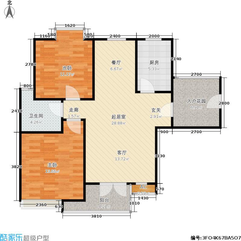 米兰东湖湾89.54㎡G3-1 2室2厅1卫户型