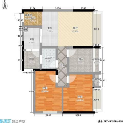 俊峰龙凤云洲2室1厅1卫1厨98.00㎡户型图