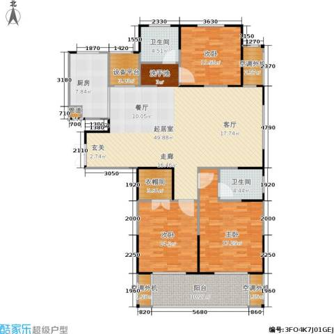 济源建业壹号城邦3室0厅2卫1厨143.00㎡户型图