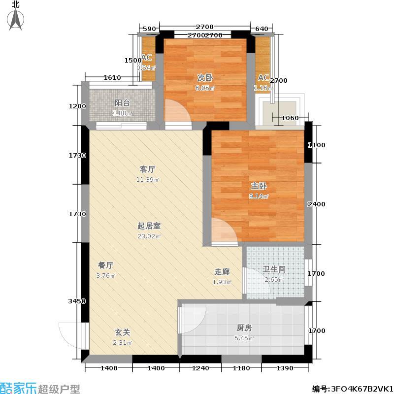 银茂江尚怡景银茂江尚怡景一期1号楼标准层A4户型1室2厅1卫1厨 61.29㎡户型1室2厅1卫