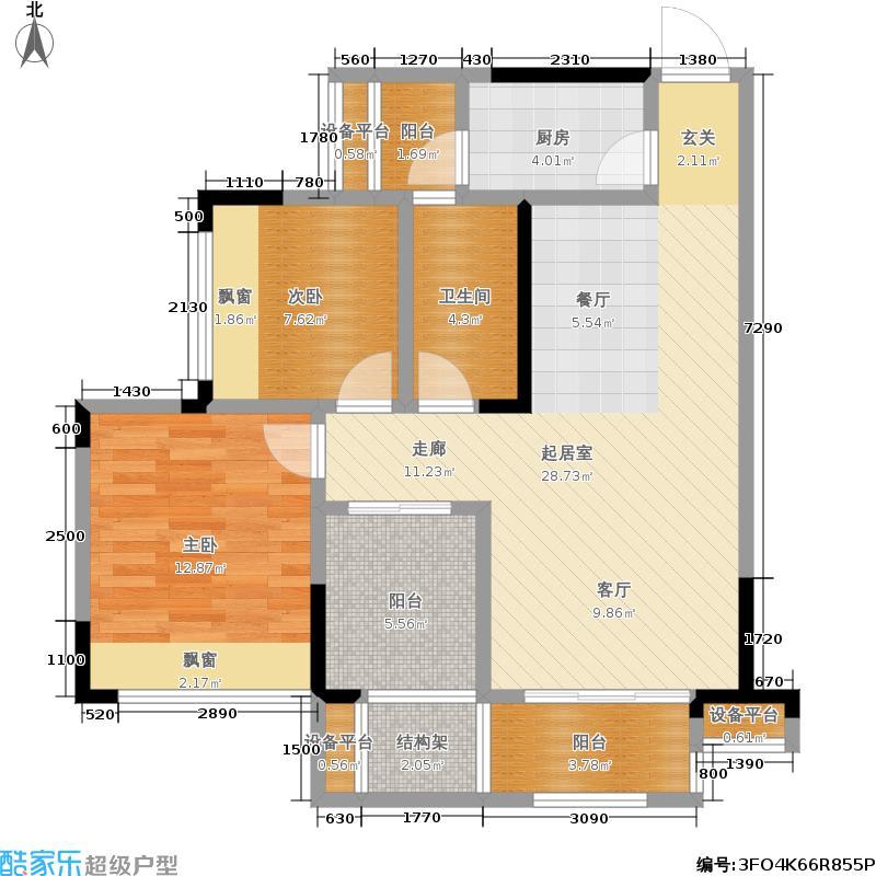 融汇半岛五园湾B-9#-户型2室1卫1厨