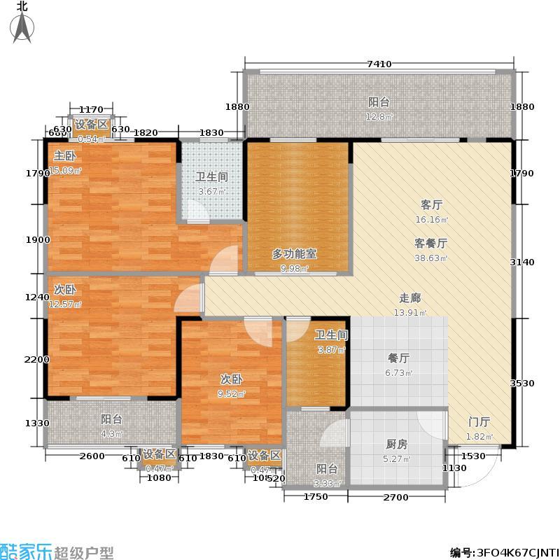 宸琪天和苑户型3室1厅2卫1厨