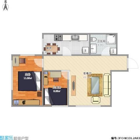 亿合城2室1厅1卫1厨68.00㎡户型图