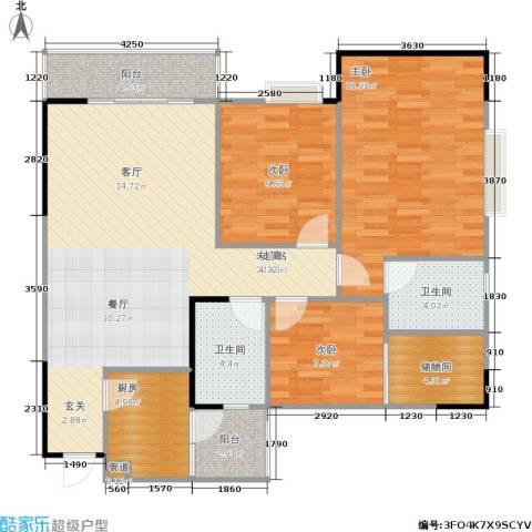 松华阁3室0厅2卫1厨95.00㎡户型图