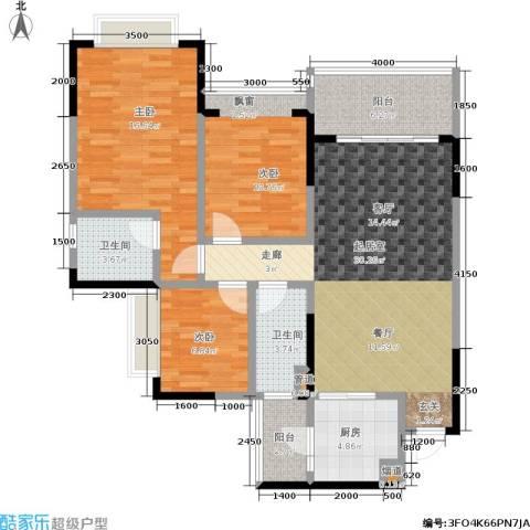 恒大城3室0厅2卫1厨91.00㎡户型图