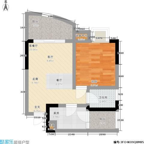 新城丽园1室1厅1卫1厨58.00㎡户型图