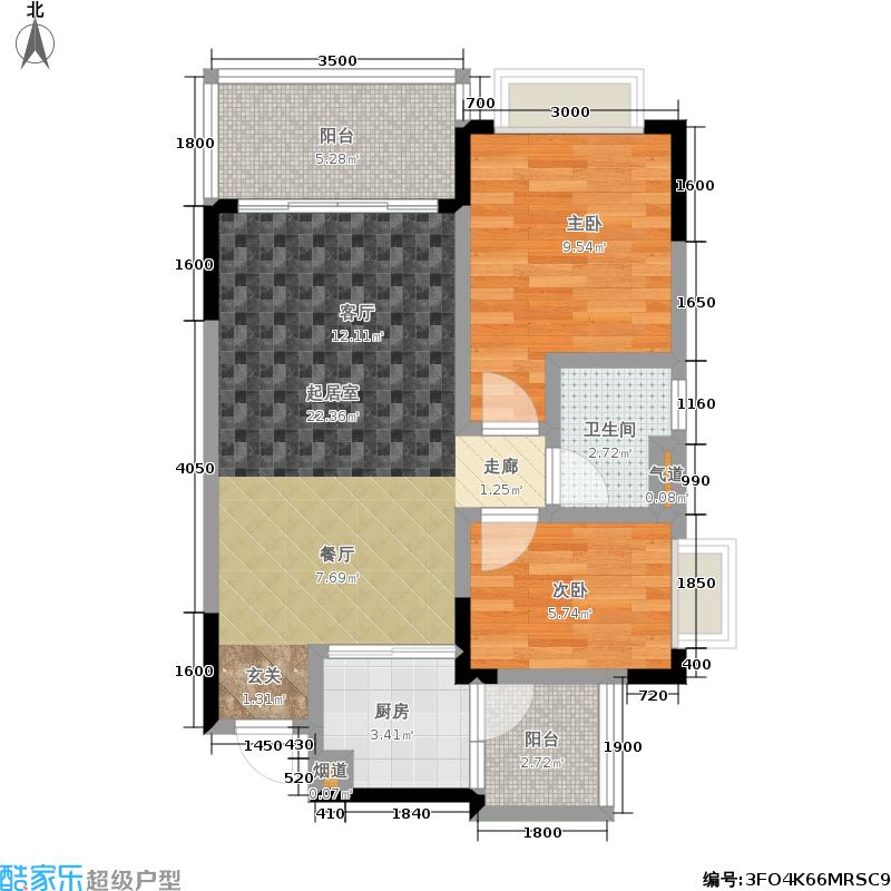 恒大城55.00㎡恒大城户型图小高层4号房(3/8张)户型2室1厅1卫