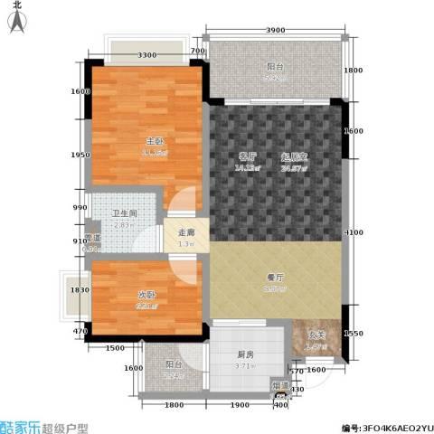 恒大城2室0厅1卫1厨61.00㎡户型图