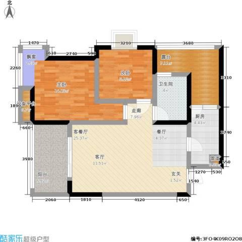 新城丽园2室1厅1卫1厨104.00㎡户型图