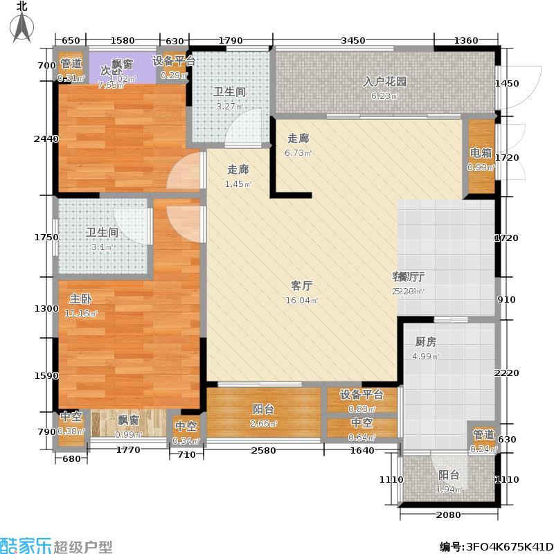 盛豪首港城70.20㎡D1户型 两室两厅两卫+双阳台+双飘窗+叠院 套内70.2㎡户型2室2厅2卫