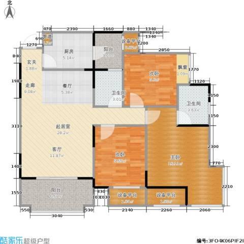 书香美舍3室0厅2卫1厨89.81㎡户型图