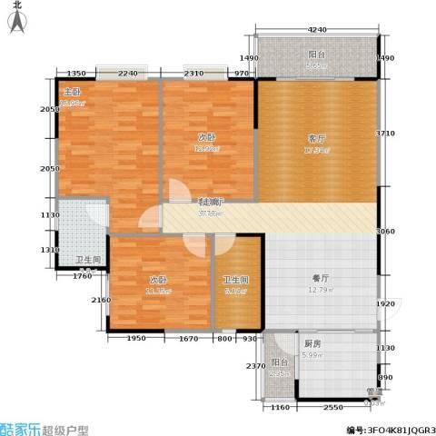 松华阁3室1厅2卫1厨100.89㎡户型图