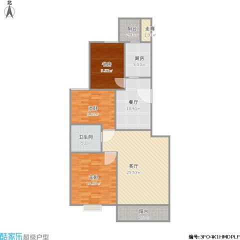桐城・怡景3室2厅1卫1厨122.00㎡户型图