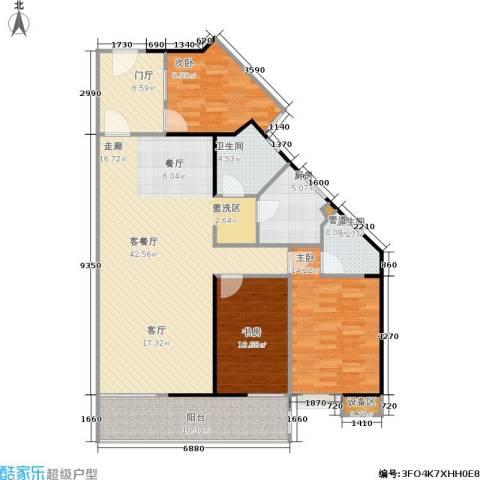 禹洲大学城3室1厅2卫1厨145.00㎡户型图