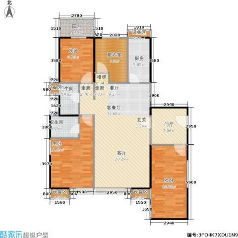 禹洲大学城3室1厅2卫1厨156.00㎡户型图