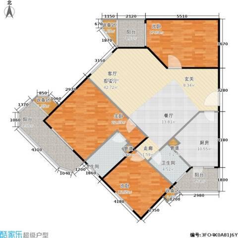 荣宁园3室1厅2卫1厨148.00㎡户型图