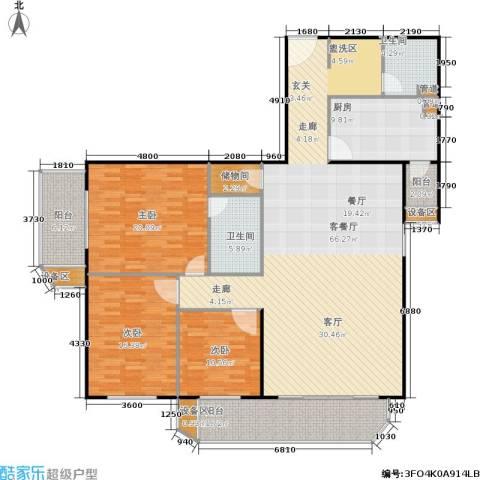荣宁园3室1厅2卫1厨171.00㎡户型图