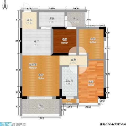 西城景秀3室0厅1卫1厨80.00㎡户型图
