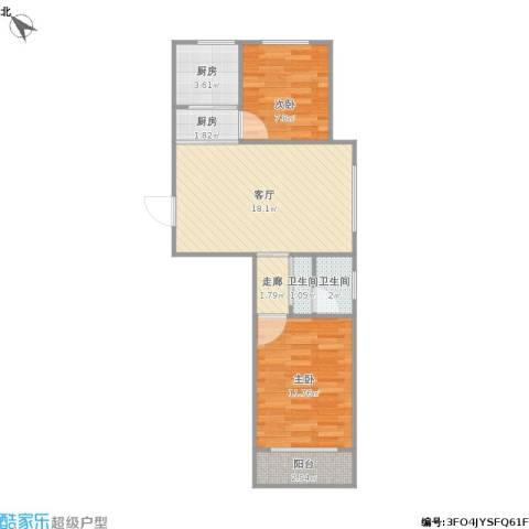 澳海澜庭2室1厅2卫2厨70.00㎡户型图