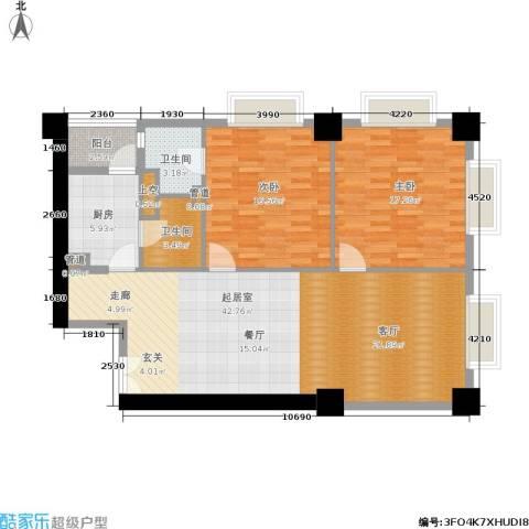 田园国际公寓2室0厅2卫1厨153.00㎡户型图