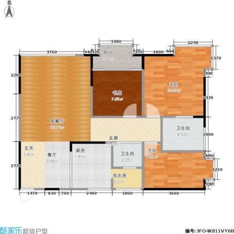 顶福天际3室1厅2卫1厨110.00㎡户型图